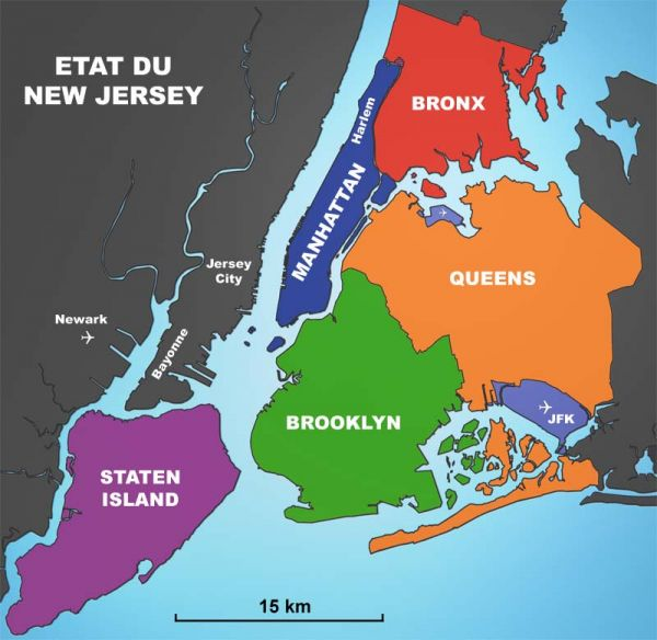 carte de new york et ses quartiers Les quartiers de New York City : du Bronx à Manhattan